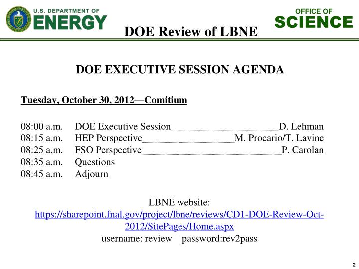 Doe review of lbne