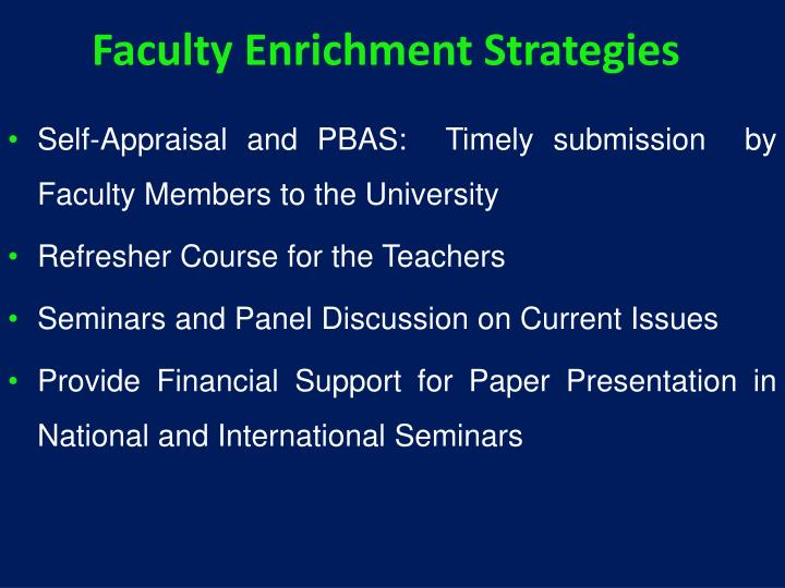 Faculty Enrichment Strategies