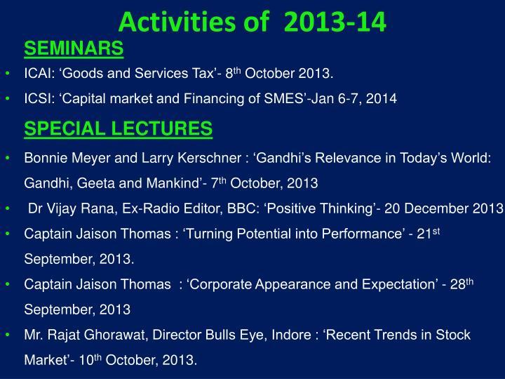 Activities of  2013-14