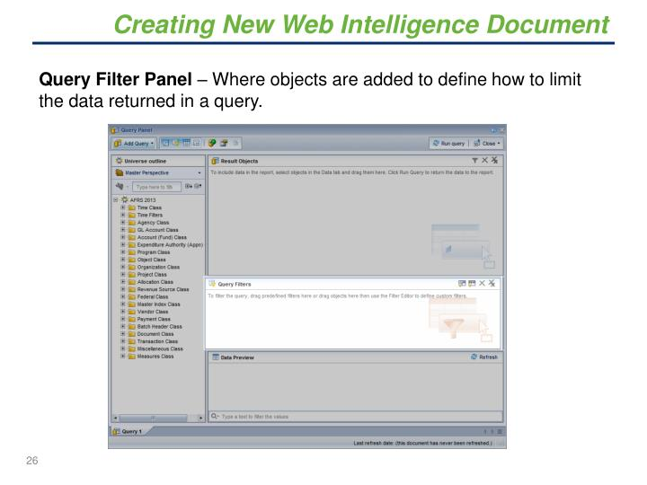 Creating New Web Intelligence Document
