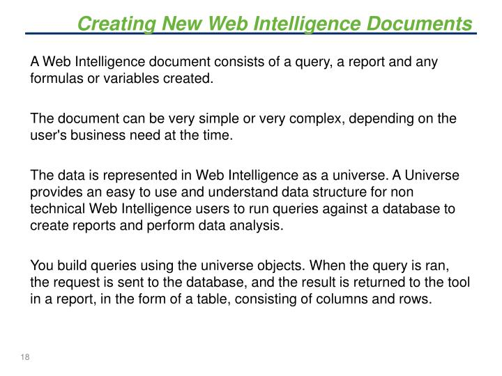 Creating New Web Intelligence Documents