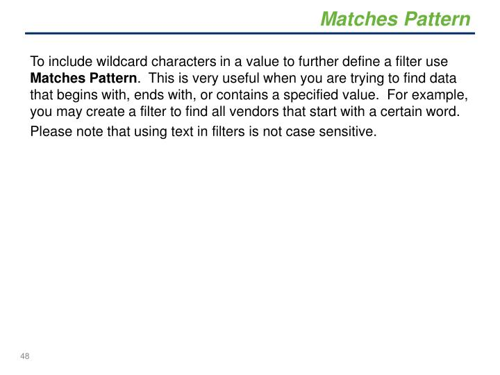 Matches Pattern