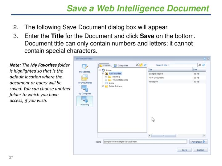 Save a Web Intelligence Document