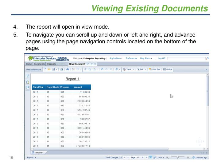 Viewing Existing Documents