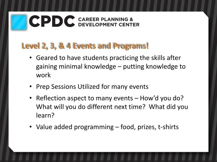 Level 2, 3, & 4 Events and Programs!