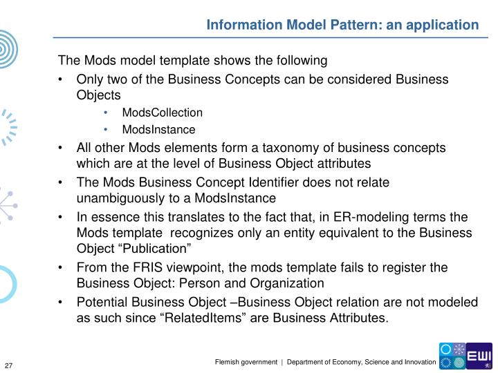 Information Model Pattern: an application