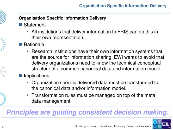 Organisation Specific Information Delivery