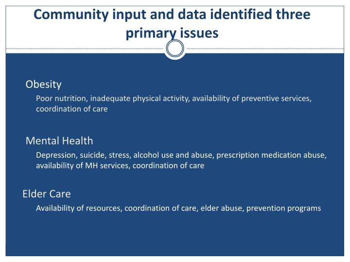 Community input and data identified three primary issues