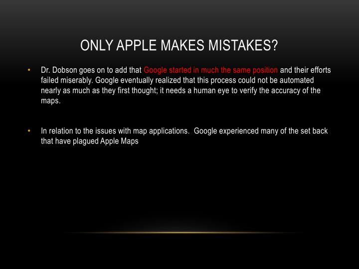 Only apple makes mistakes?