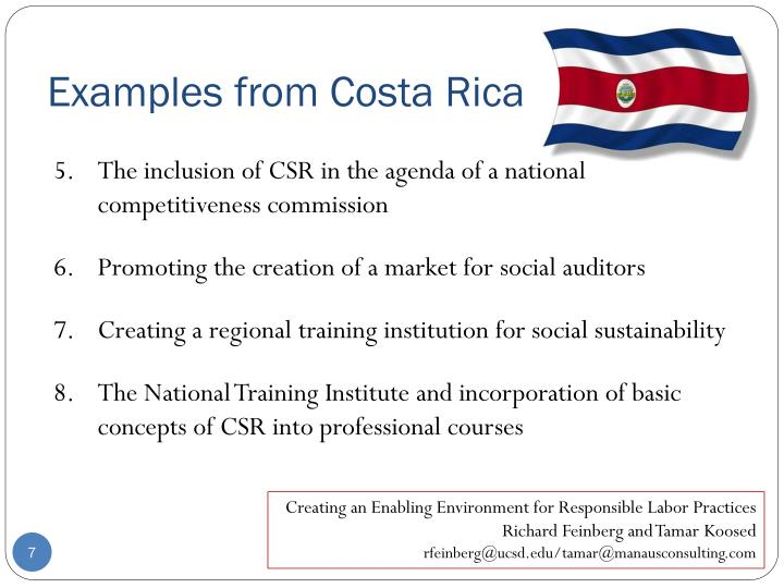 Examples from Costa Rica