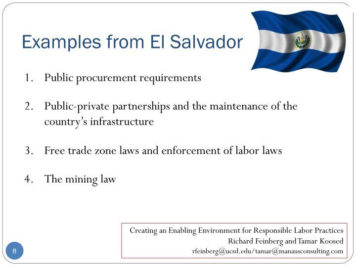 Examples from El Salvador
