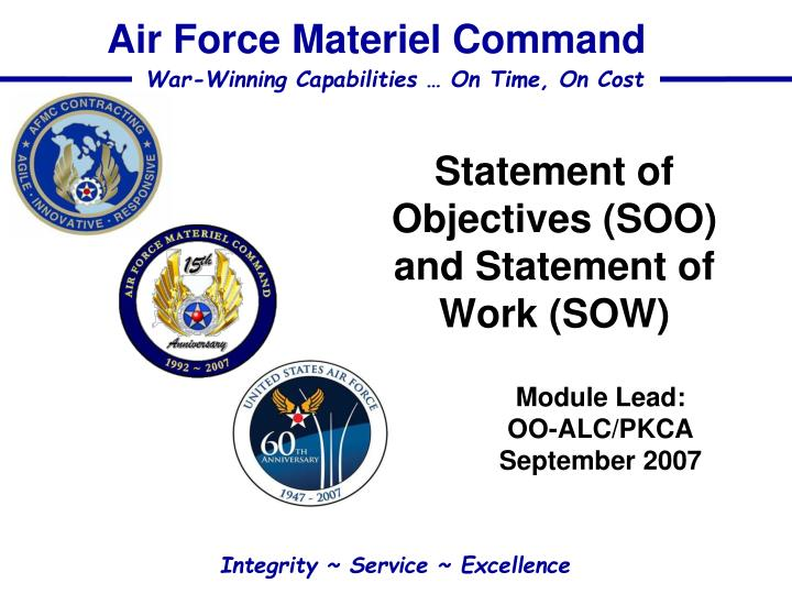 statement of objectives soo and statement of work sow n.