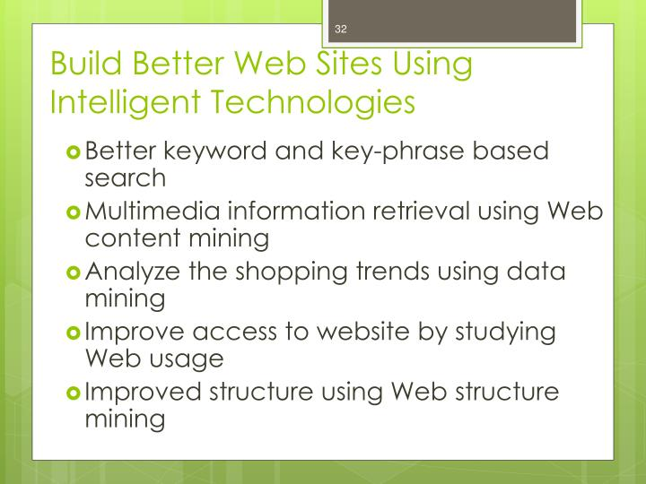 Build Better Web Sites Using Intelligent Technologies