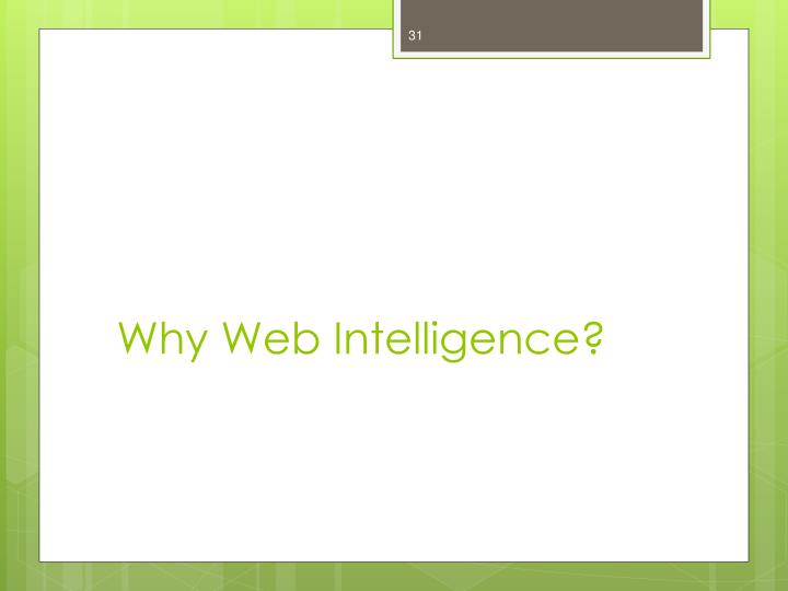 Why Web Intelligence?