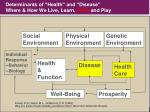 determinants of health and disease where how we live learn work and play