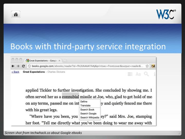 Books with third-party service integration