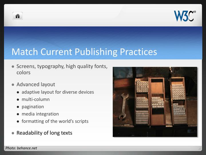 Match Current Publishing Practices