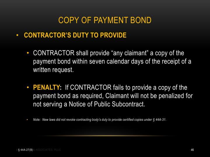 COPY OF PAYMENT BOND