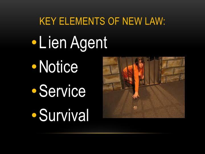 Key Elements of New Law: