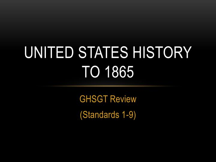 united states history to 1865 n.