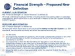 financial strength proposed new definition