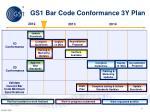 gs1 bar code conformance 3y plan