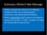 summary wilson s war message