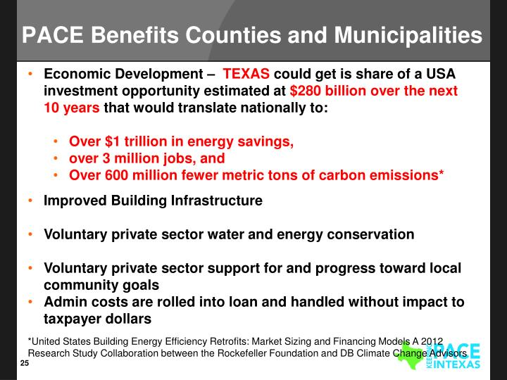 PACE Benefits Counties and Municipalities
