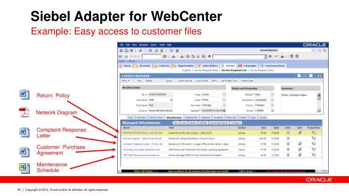 Siebel Adapter for WebCenter