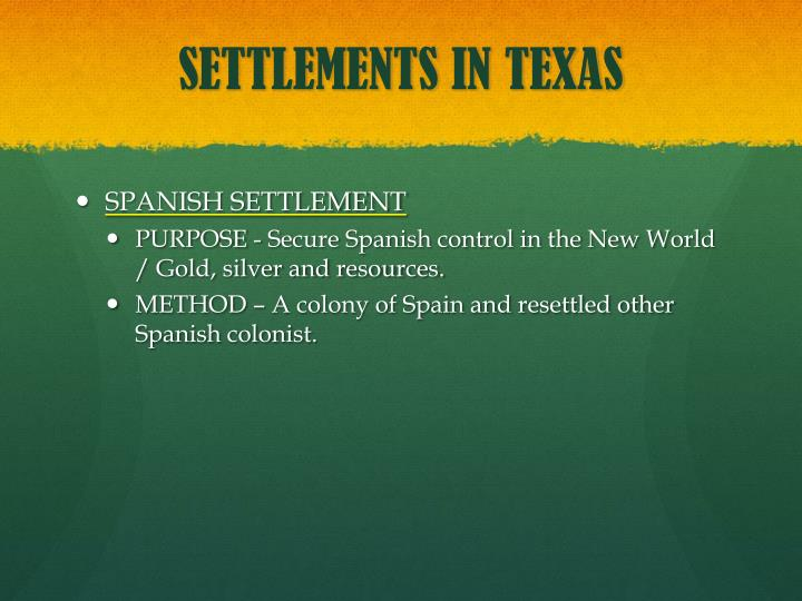 SETTLEMENTS IN TEXAS