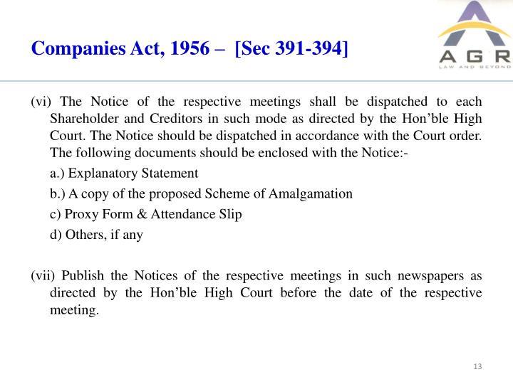 Companies Act, 1956 –  [Sec 391-394]