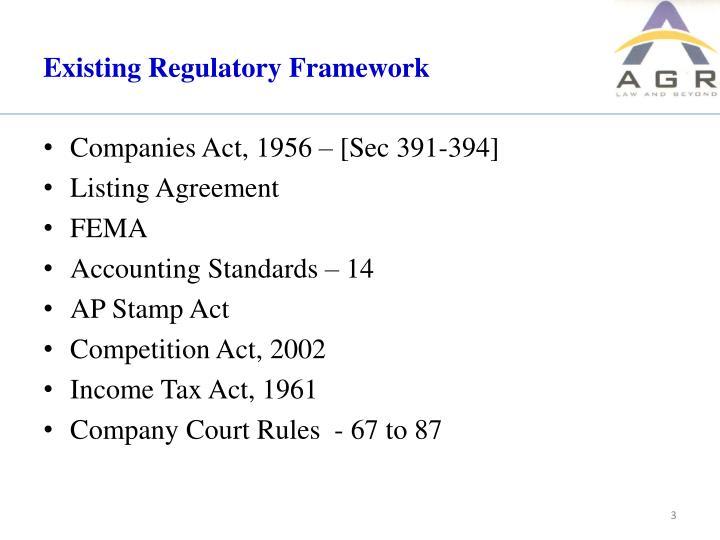Existing regulatory framework