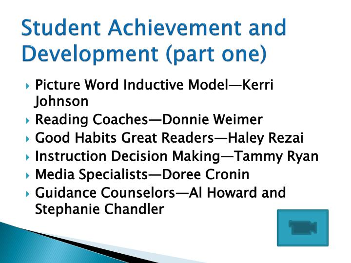 Student Achievement and Development (part one)