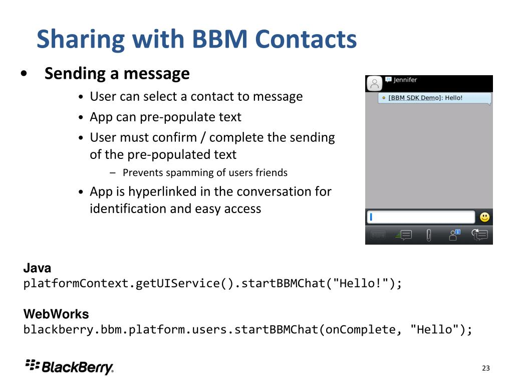 PPT - Integrating with the BBM Social Platform, One Step at a Time