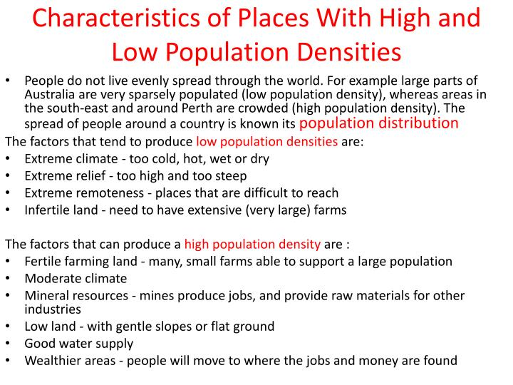 Characteristics of Places With High and Low Population Densities