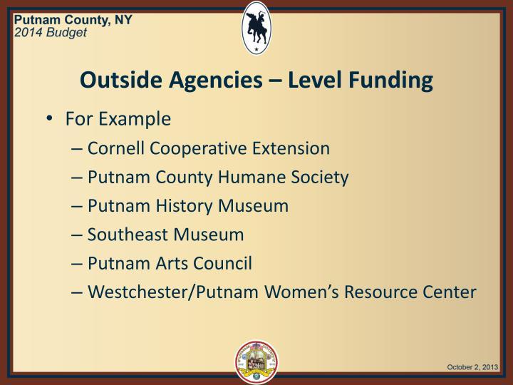 Outside Agencies – Level Funding