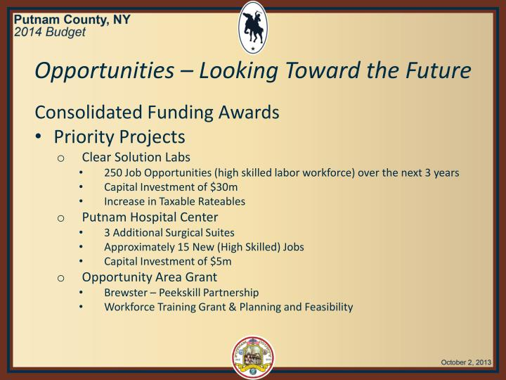 Opportunities – Looking Toward the Future