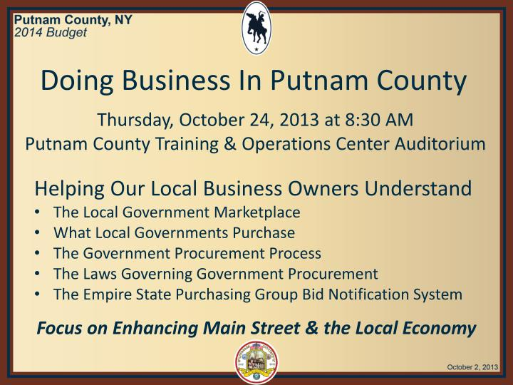 Doing Business In Putnam County