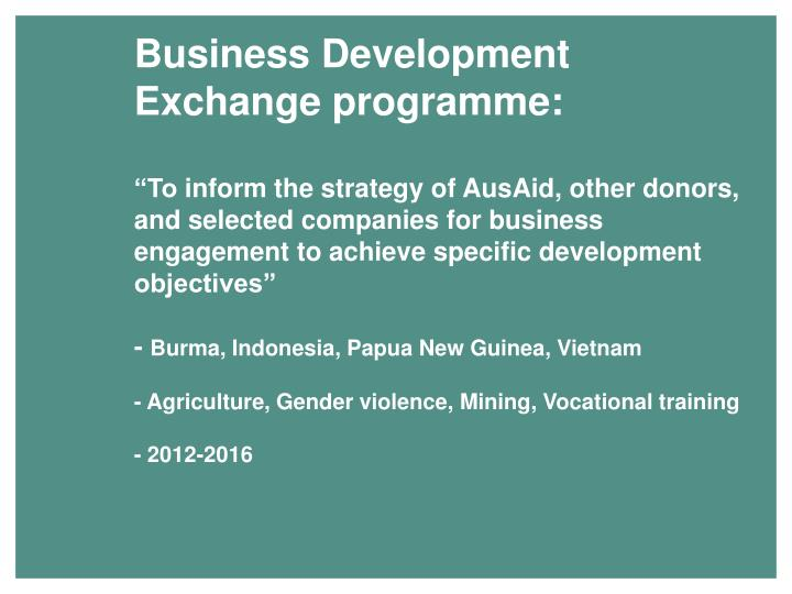 Business Development Exchange programme: