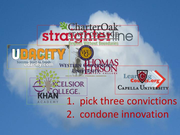 1.  pick three convictions