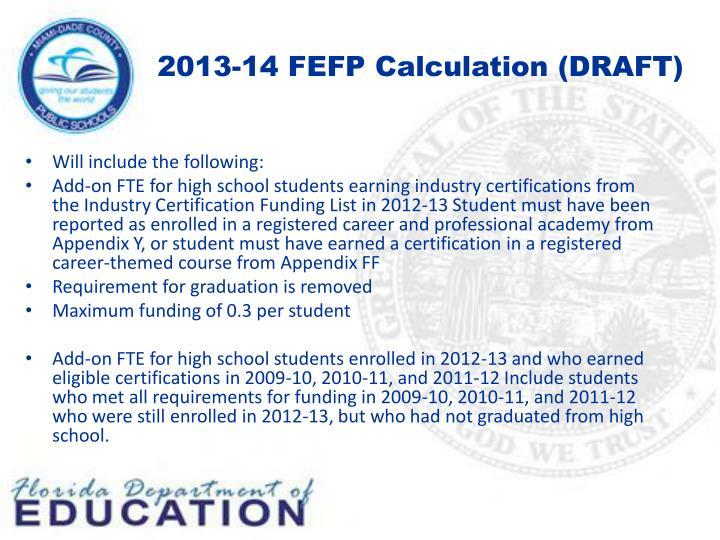 2013-14 FEFP Calculation (DRAFT)