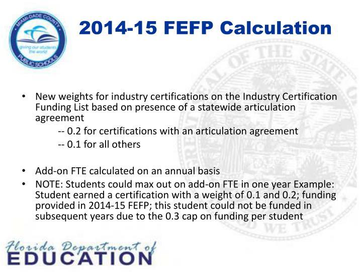 2014-15 FEFP Calculation