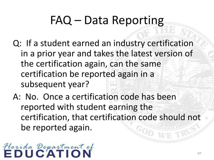 FAQ – Data Reporting