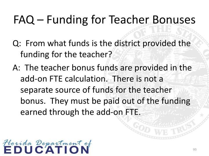 FAQ – Funding for Teacher Bonuses