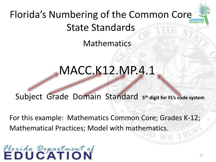 Florida's Numbering of the Common Core State Standards