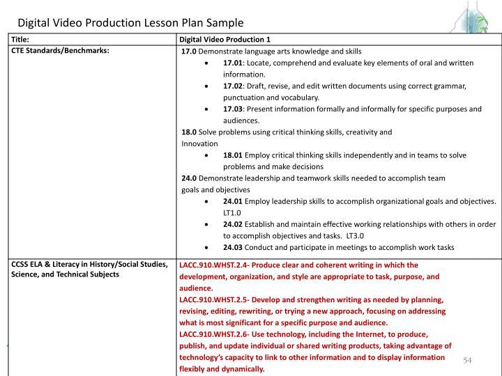 Digital Video Production Lesson Plan Sample
