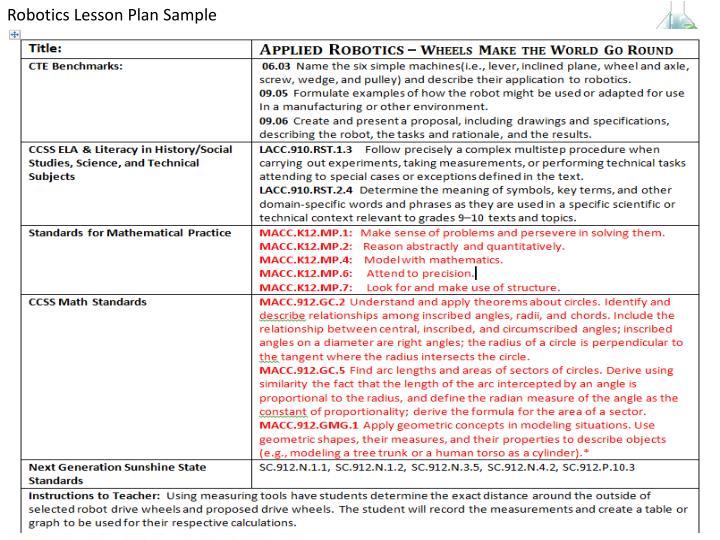 Robotics Lesson Plan Sample