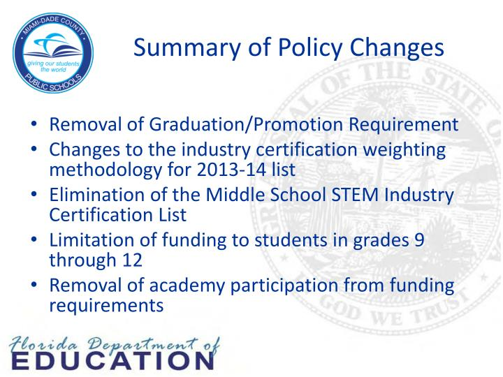 Summary of Policy Changes