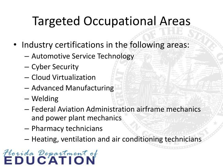 Targeted Occupational Areas