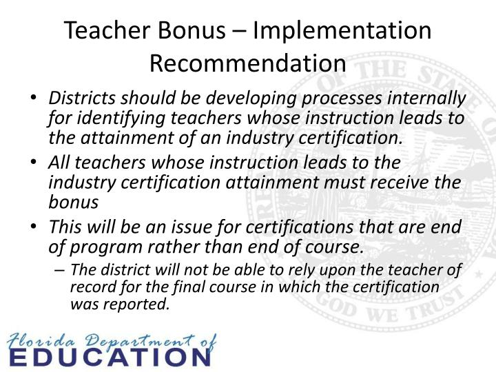 Teacher Bonus – Implementation Recommendation